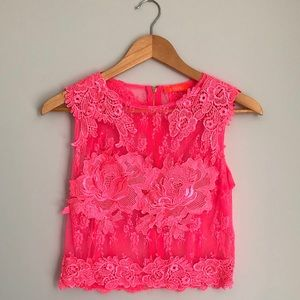 Hot Pink Lace Crop Top with Back Zipper